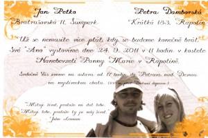 Oznámení Petra Damborská a Jan Petko