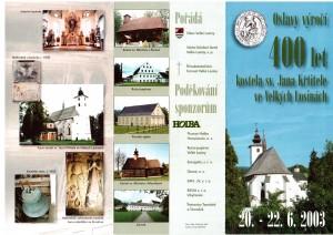 Program oslav 400 let kostela v Losinách 2