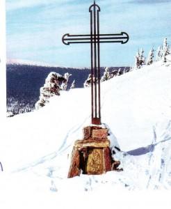 Vřesová studánka -  litinový kříž na místě kde stála kaple