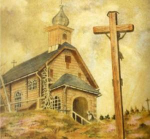 Dřevěný kostelík na Vřesové studánce z roku 1944