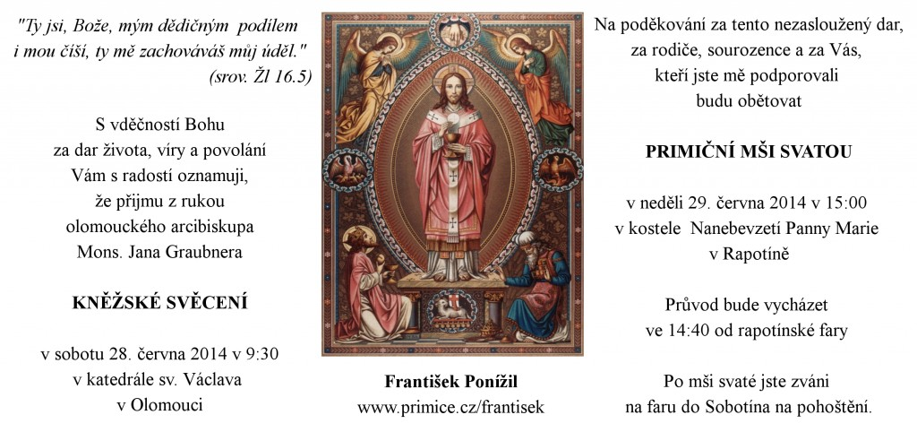 Oznámení o kněžském svěcení F. Ponížila